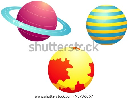 illustration of isolated set of planets on white background - stock vector