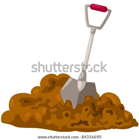 illustration of isolated shovel on white background - stock vector