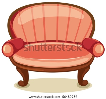 illustration of isolated sofa on white background - stock vector