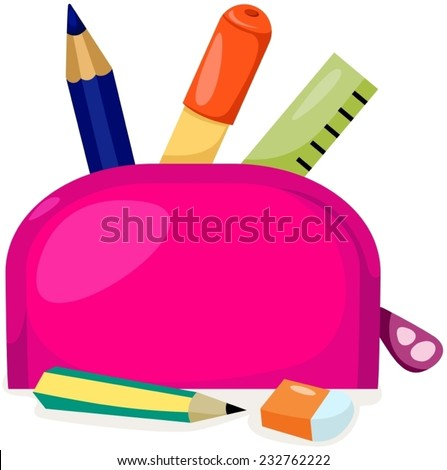 illustration of isolated stationery bag on white
