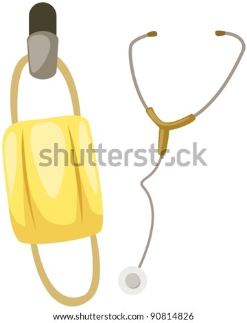 illustration of isolated stethoscope with mask on white - stock vector