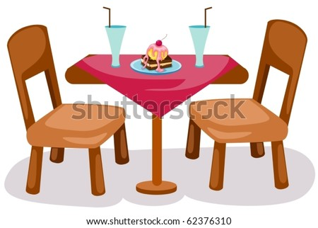 illustration of isolated table and chairs on white background - stock vector
