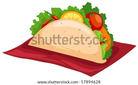 illustration of isolated taco mexican food on white background - stock vector