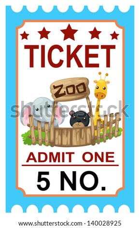illustration of isolated ticket zoo vector