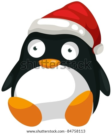 illustration of isolated toy penguin on white background - stock vector