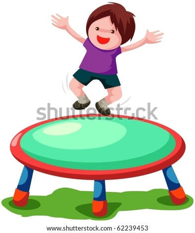 illustration of isolated trampoline jumping on white background - stock vector