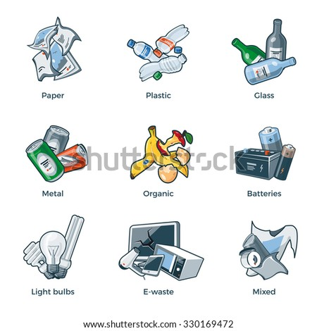 Illustration of isolated trash categories with organic, paper, plastic, glass, metal, e-waste, batteries, light bulbs and mixed waste on white background.  - stock vector