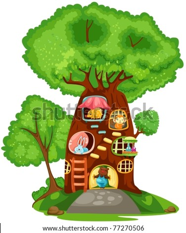 illustration of isolated tree house on white background - stock vector