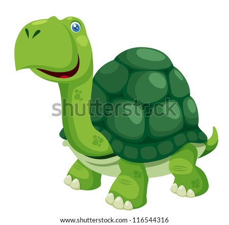 illustration of isolated turtle on white - stock vector