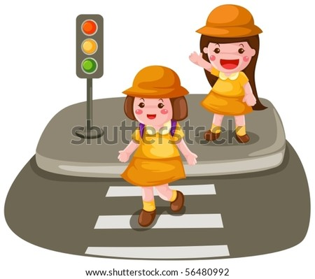 illustration of isolated two girls crossing the street on white - stock vector
