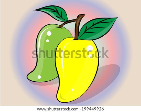 illustration of isolated two mangoes . - stock vector