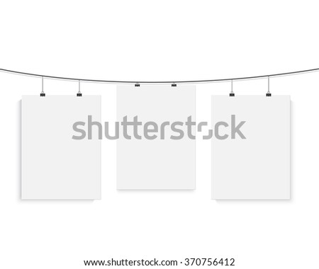 Illustration of Isolated Vector Poster Mockup Set. Realistic Vector EPS10 Paper Poster Set on a Bended Rope Isolated on White Background - stock vector