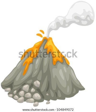 illustration of isolated volcano on white background - stock vector