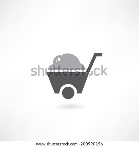 illustration of isolated wheelbarrow on white background - stock vector