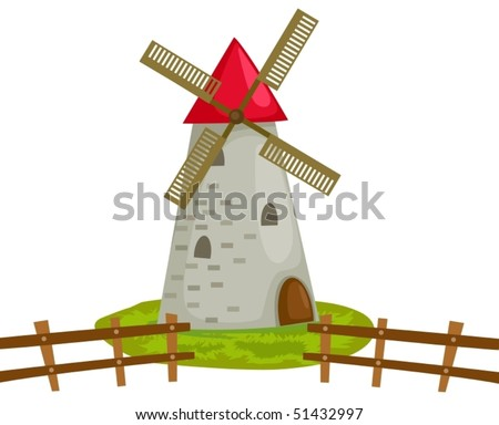 illustration of isolated windmill building on white background