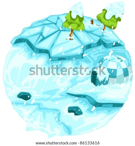 illustration of isolated winter earth with christmas tree on white
