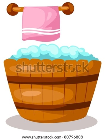illustration of isolated wooden bathtub with pink tower on white - stock vector