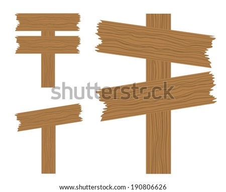 Illustration of 3 isolated wooden signs for your design - stock vector