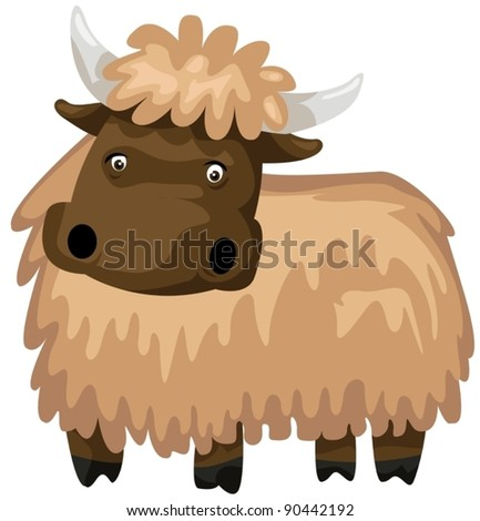 illustration of isolated  woolly mammoth on white - stock vector