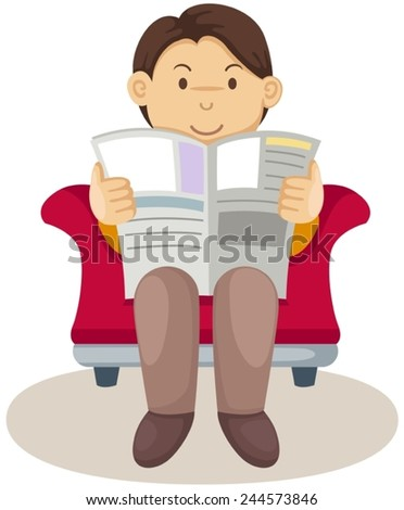 illustration of isolated young man reading newspaper - stock vector