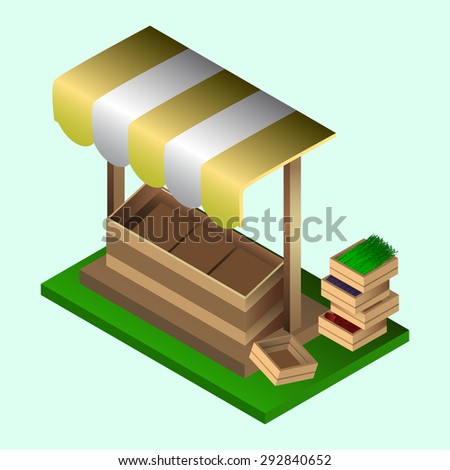Illustration of isometric market stall and wooden boxes. Isometric food boxes. Market shop location. Object for game, app, advertisement. - stock vector
