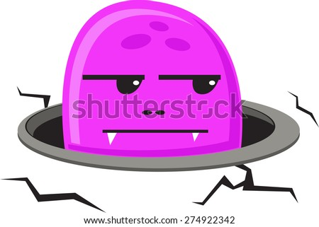 illustration of jelly monster come out from hole  - stock vector