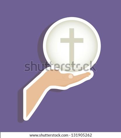 Illustration of Jesus Christ, Eucharist and the sacrament of communion, vector illustration - stock vector