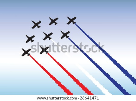 Illustration of jets flying in formation. Red, white and blue theme. - stock vector