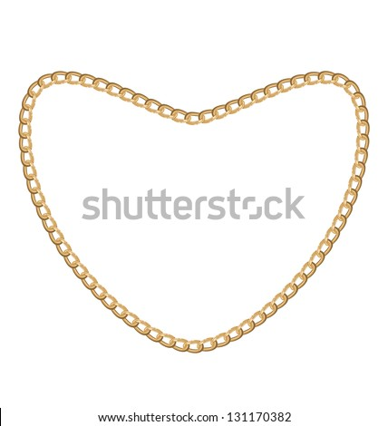 Illustration of jewelry golden chain of heart shape - vector eps10 - stock vector