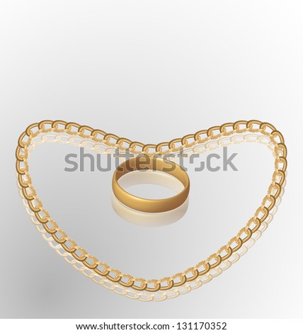 Illustration of jewelry ring on golden chain of heart shape - vector eps10 mesh - stock vector