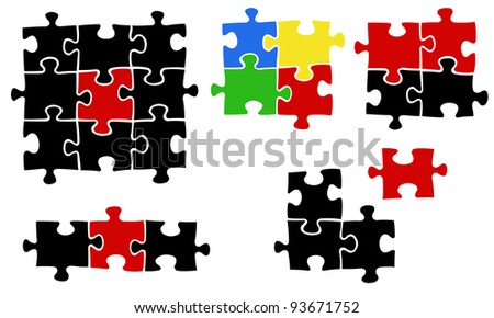illustration of jigsaw puzzle pieces - stock vector