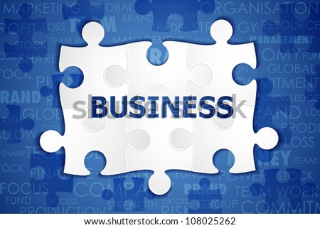 illustration of jigsaw puzzle with business text - stock vector