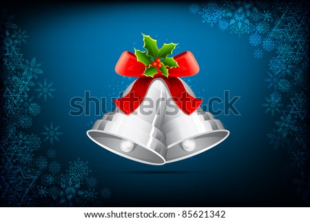 illustration of jingle bells tied with ribbon for christmas decoration - stock vector
