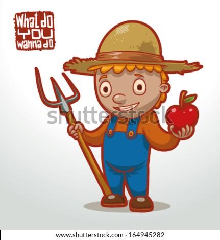 Illustration of jobs children, farmer - stock vector