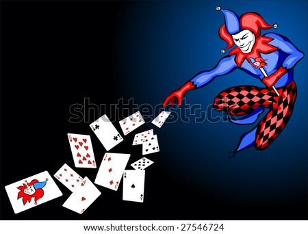 Illustration of joker throwing cards - stock vector