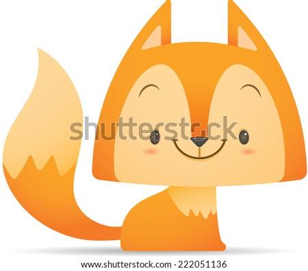 Illustration of Kawaii Cute Fox sitting - stock vector