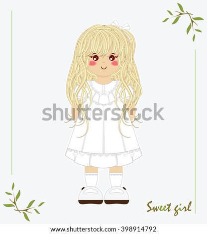 Illustration of kawaii little girl with long blonde hair, vintage dress, white socks, bows ribbon, lace. Cartoon flat style, elements for festive, childish design. Isolated vector object - stock vector