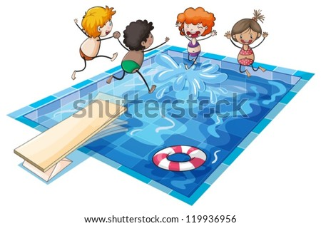 illustration of kids and a swimming pool on a white background - stock vector