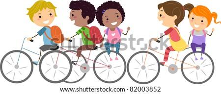 Illustration of Kids Biking to School - stock vector