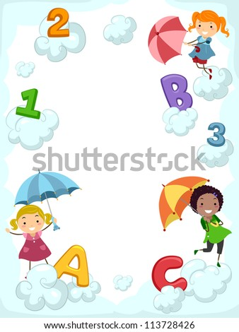 Illustration of Kids Carrying Umbrellas Dancing Beside Clouds Supporting Letters of the Alphabet - stock vector