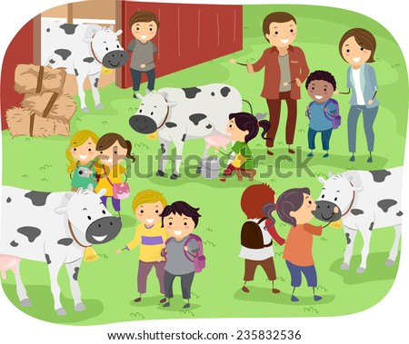 Illustration of Kids Checking Out Cows During a Field Trip in a Dairy Farm - stock vector