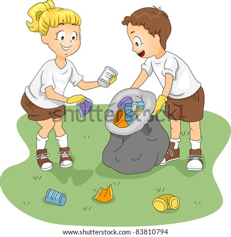 Illustration of Kids Cleaning up a Camp - stock vector