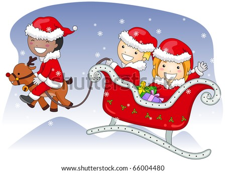 Illustration of Kids Dressed in Santa Claus Costumes Riding a Sleigh - stock vector