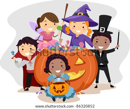 Illustration of Kids Dressed in Various Halloween Costumes - stock vector