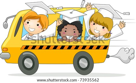 Illustration of Kids Driving Away in a School Bus - stock vector