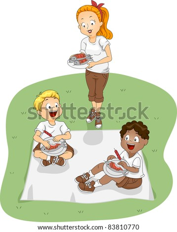 Illustration of Kids Eating Outdoors - stock vector