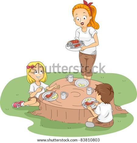 Illustration of Kids Eating Outside - stock vector
