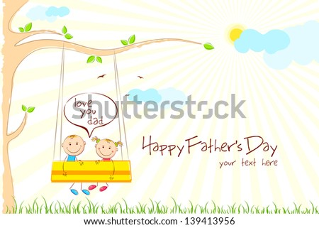 illustration of kids enjoying swing ride in park in Father's Day - stock vector