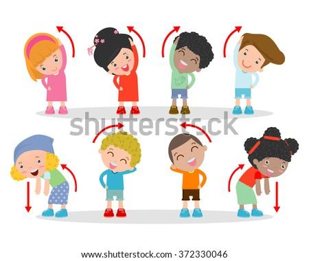 Illustration of Kids Exercising, Kids exercising ,child exercising , happy Kids Exercising, Vector Illustration. - stock vector
