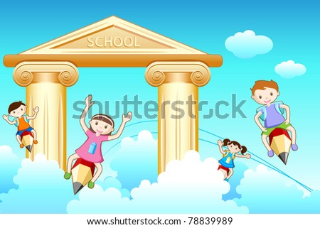 illustration of kids flying on pencil going to school - stock vector